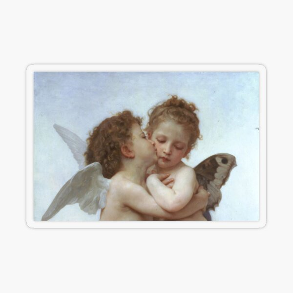 Lamour and Psyche Children – (William Adolphe Bouguereau) Transparent Sticker