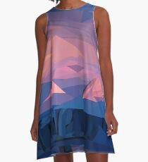 Berg Sonnenuntergang A-Linien Kleid