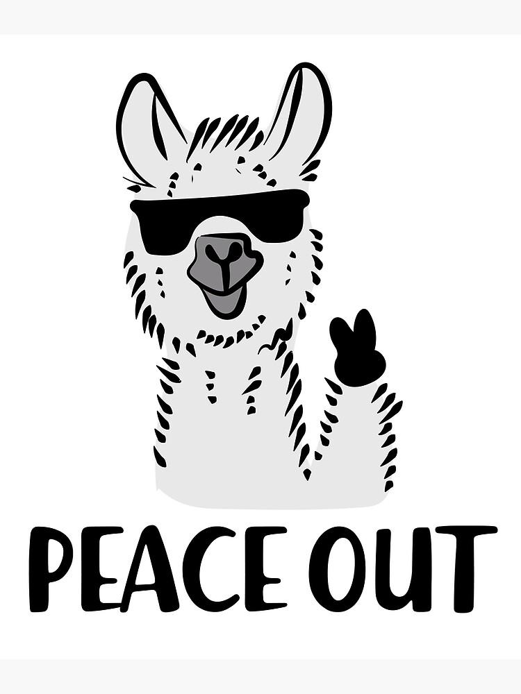 NO DRAMA LLAMA T-Shirt FUNNY Cute ANIMAL Design TUMBLR Peace OUT Grey WHITE