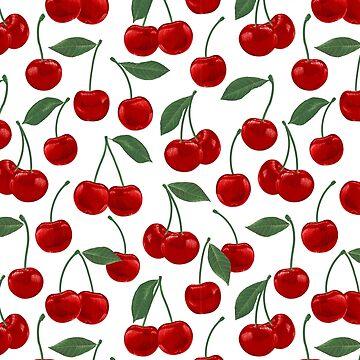 rotes Kirschmuster auf Weiß von MartaOlgaKlara
