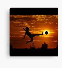 sports statue in city Canvas Print