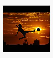 sports statue in city Photographic Print