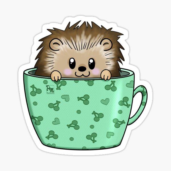 Hedgehog in a cup Sticker