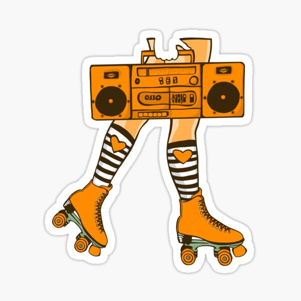 Boom Box (Orange) Sticker