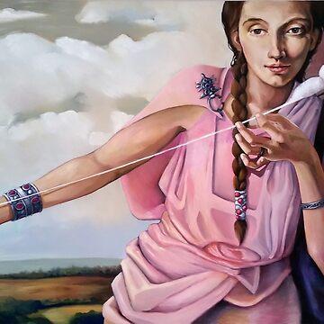 Spinning Wool: Oil on Canvas by joannaalmasude