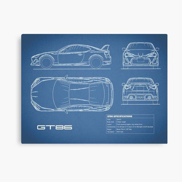 The GT86 Blueprint Canvas Print