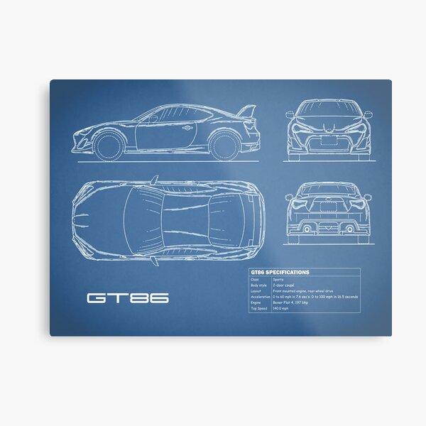 The GT86 Blueprint Metal Print