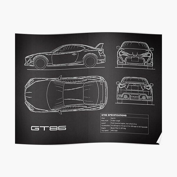 GT86 Blueprint Poster