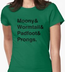 Moony & Wormtail & Padfoot & Prongs. Womens Fitted T-Shirt