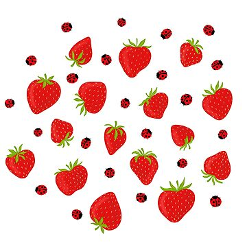 Strawberries and Ladybugs Summer Pattern by carabara