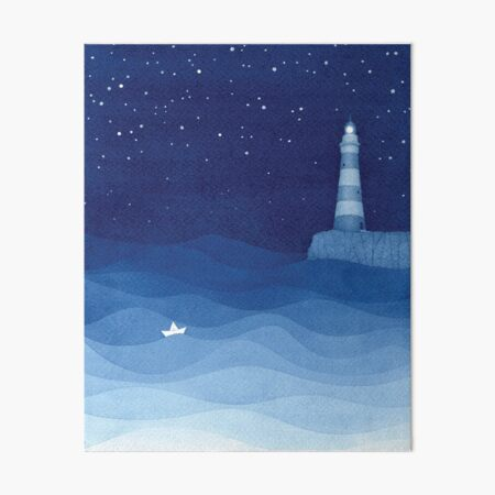 Lighthouse 2, blue ocean watercolor Art Board Print