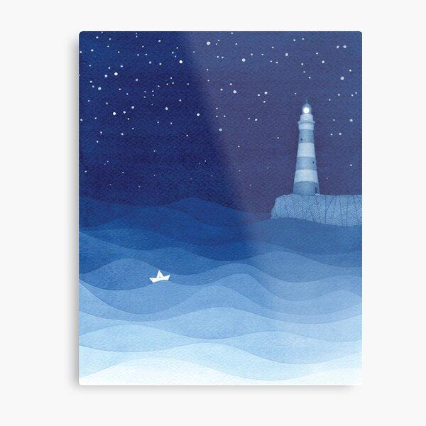 Lighthouse 2, blue ocean watercolor Metal Print