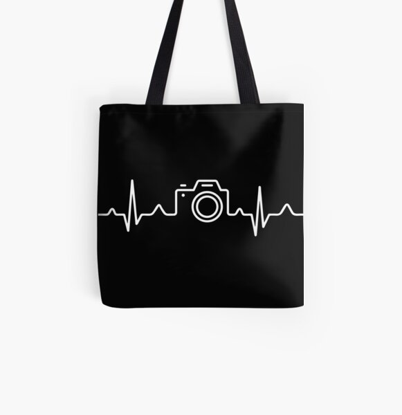 HEARTBEAT CAMERA (white) All Over Print Tote Bag