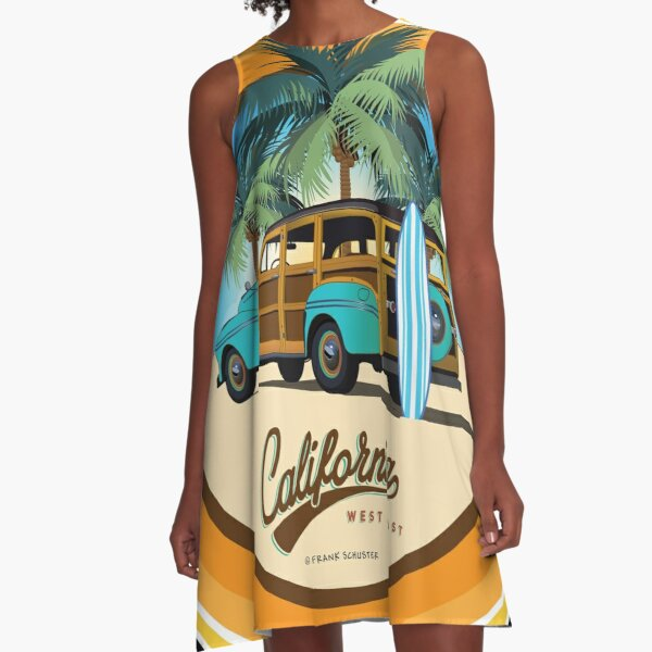 Woody Woodie Gone Surfing California A-Line Dress