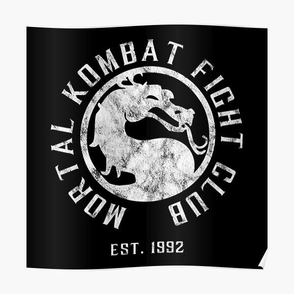Mortal Kombat Fight Club | Mortal Kombat 11 | Distressed White Logo Poster