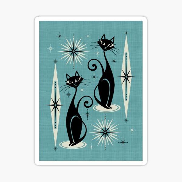Mid Century Meow on Blue Sticker