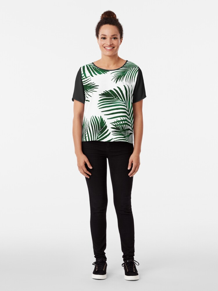 Alternate view of Tropical Palm Leaf Chiffon Top