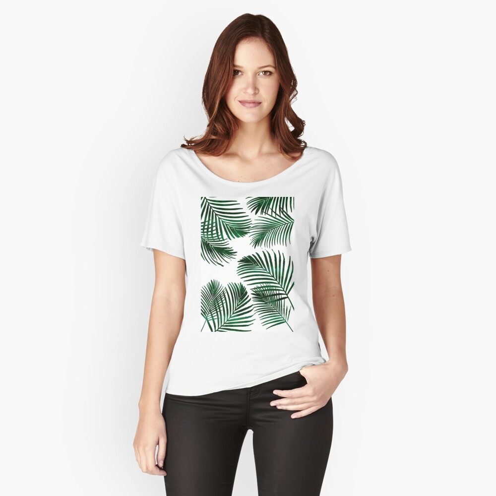 Tropical Palm Leaf Relaxed Fit T-Shirt