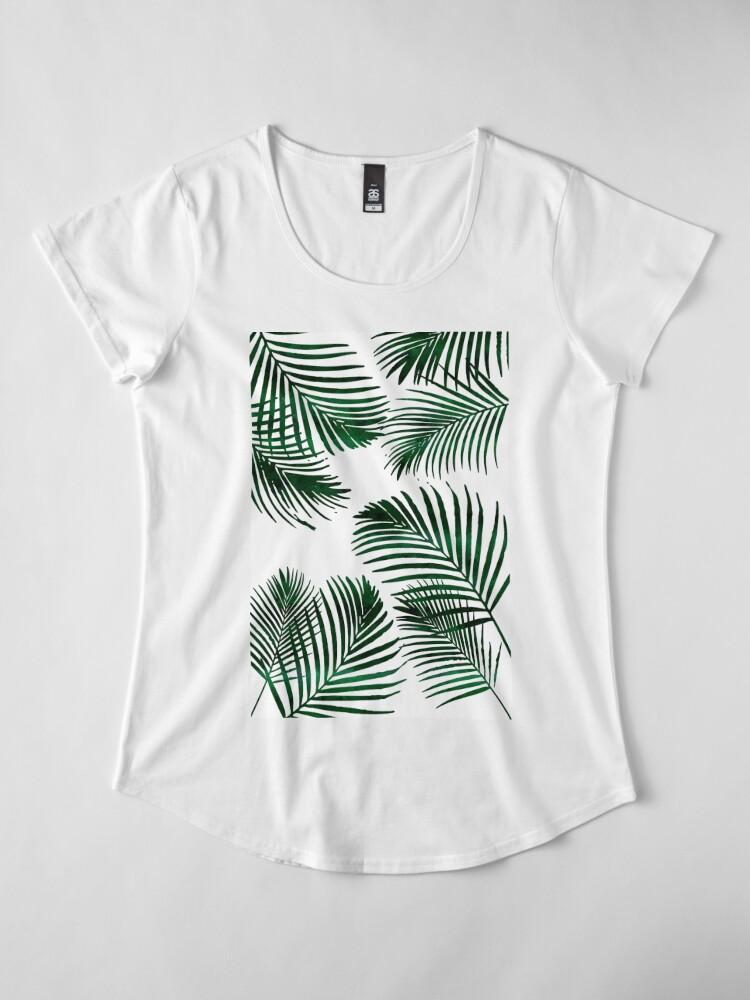 Alternate view of Tropical Palm Leaf Premium Scoop T-Shirt