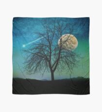 Solitude, Harvest Moon shooting star blue-green sky Scarf