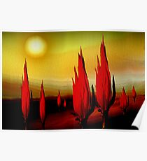 cactus burn before noon ...... melting desert abstract Poster