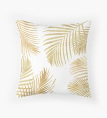 Gold Palm Leaves on white Throw Pillow