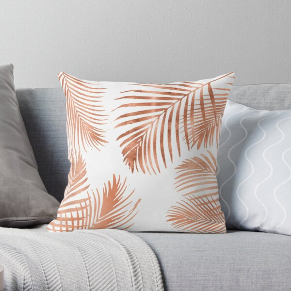 Rose Gold Palm Leaves Throw Pillow