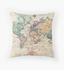 Vintage World Map 1801 Throw Pillow