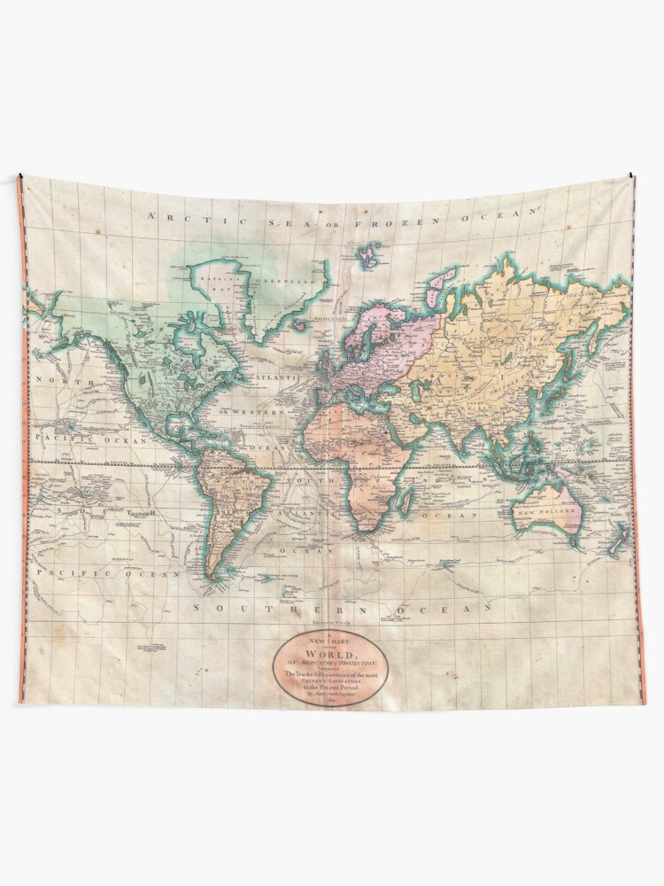 Alternate view of Vintage World Map 1801 Wall Tapestry