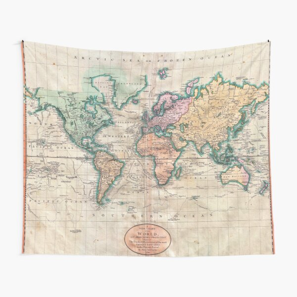 Vintage World Map 1801 Tapestry