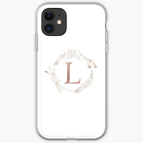 Letter L Rose Gold Pink Initial Monogram iPhone Soft Case