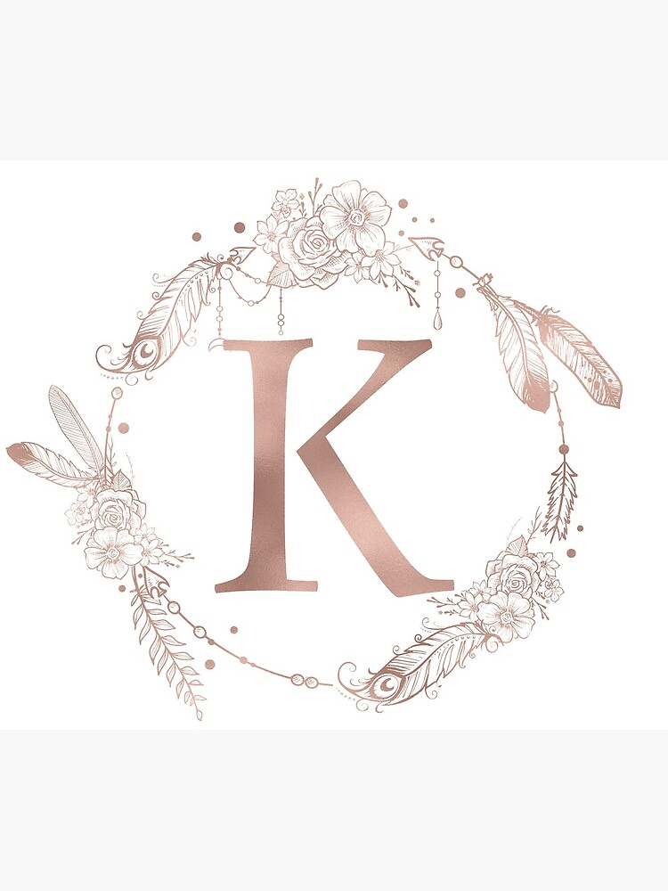 Letter K Rose Gold Pink Initial Monogram by naturemagick