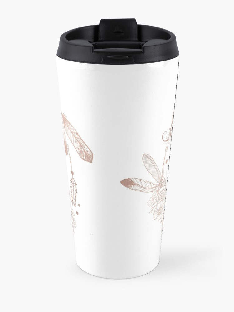 Alternate view of Letter K Rose Gold Pink Initial Monogram Travel Mug