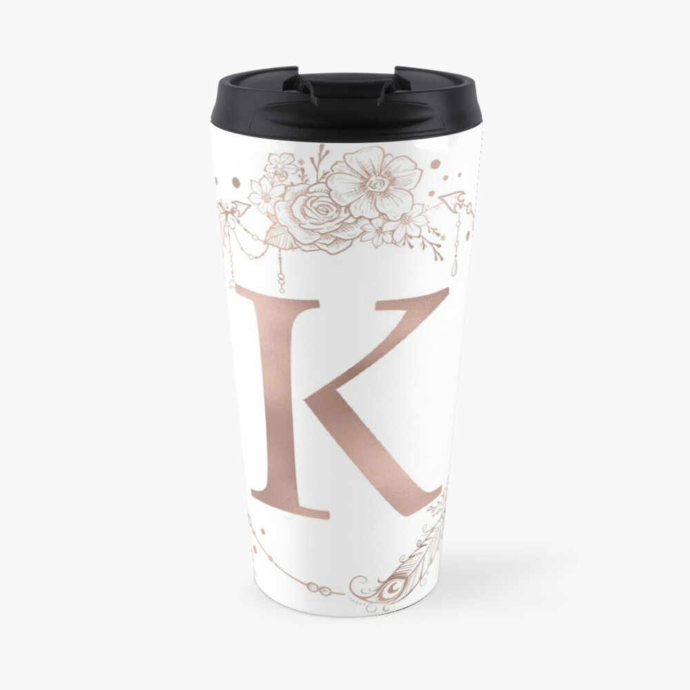Letter K Rose Gold Pink Initial Monogram Travel Mug