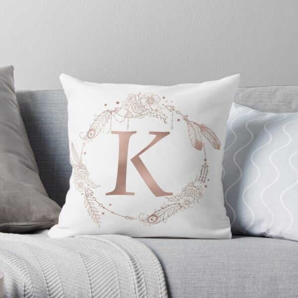 Letter K Rose Gold Pink Initial Monogram Throw Pillow