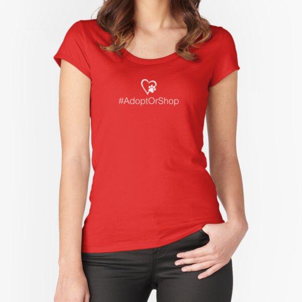 #AdoptORShop • Paw Print Heart Fitted Scoop T-Shirt