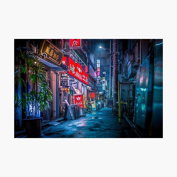 Heavy Rain Over Neo Tokyo Photographic Print