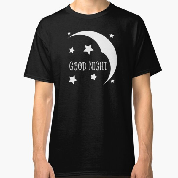 Black and White Good Night Sky with the Half-Moon and Stars  Classic T-Shirt