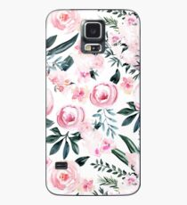 Funda/vinilo para Samsung Galaxy Hermosas flores de moda rosa acuarela en blanco