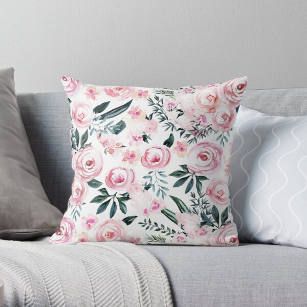 Beautiful Trendy Pink Watercolor Flowers on White Throw Pillow