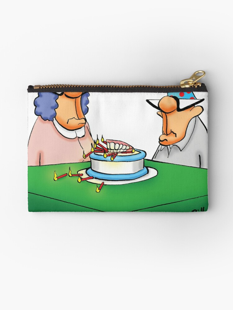 Fine Funny Birthday Cake Dentures Cartoon Humor Zipper Pouch By Funny Birthday Cards Online Barepcheapnameinfo