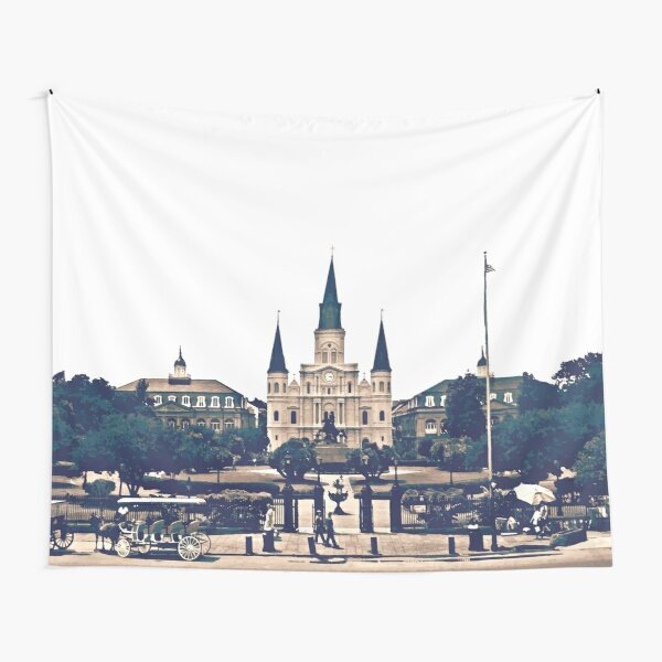 New Orleans Jackson Square Iconic Nola French Quarter Cityscape Travel Lifestyle Tapestry
