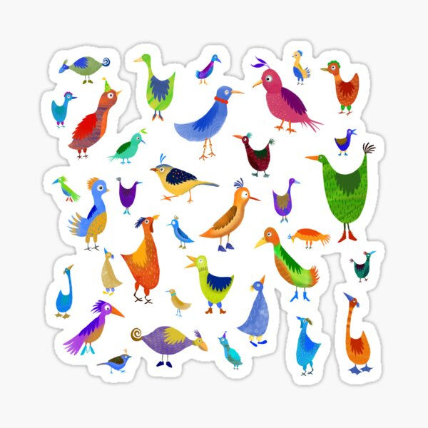 Funny Birds with shoes Sticker