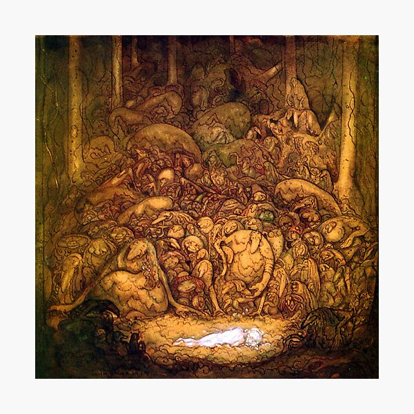 Sleeping Girl Surrounded by Forest Trolls - John Bauer Photographic Print