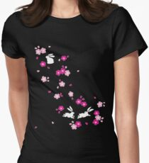 Japanese Bunny - Pink Womens Fitted T-Shirt