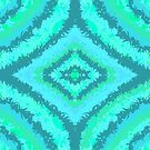 Aquamarine Blue Green Striped Pattern Design by Shan Shankaran
