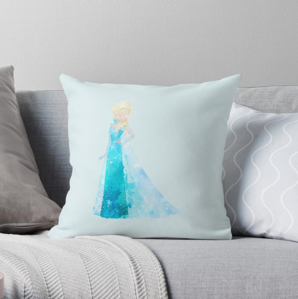 Snow Queen Inspired Watercolor Throw Pillow