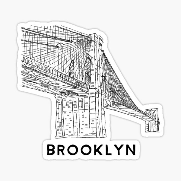 Brooklyn Bridge Hand Line Drawing New York design Sticker