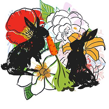 Flower Bunnies, Spring Flowers and Silhouette Rabbits by LouisianaLady