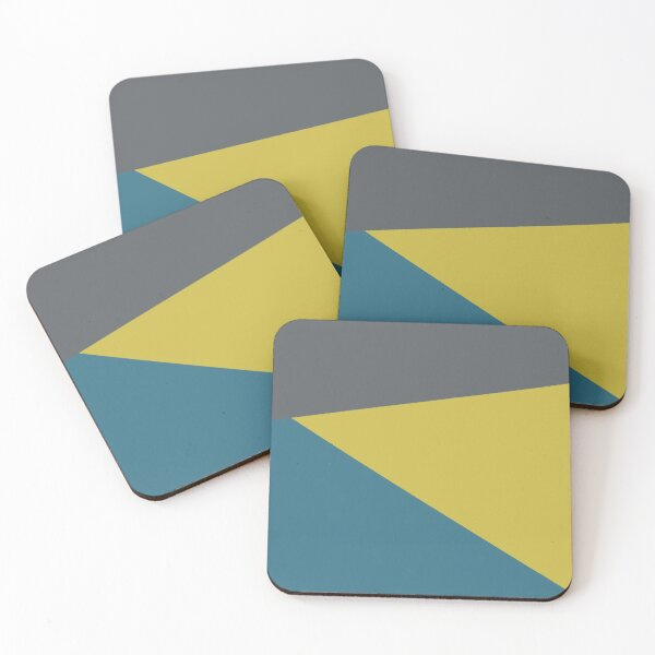 Jag, Minimalist Angled Geometric Color Block Mustard Gold, Teal, and Charcoal Grey Coasters (Set of 4)